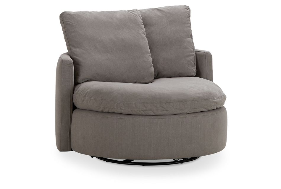 Orbit Gray Micro Swivel Accent Chair