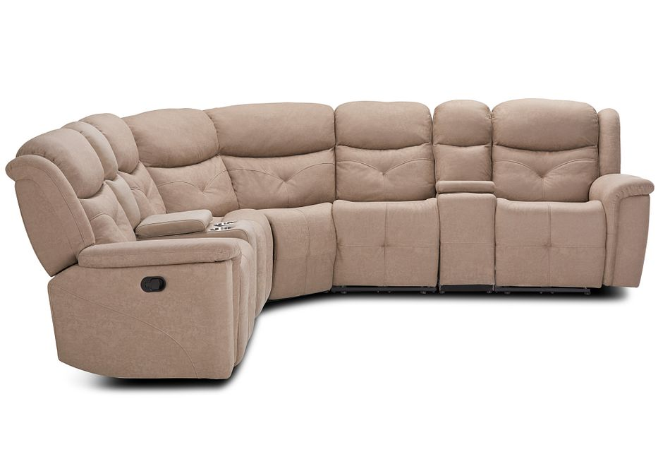 Calvin Taupe Micro Large Dual Manually Reclining Two-arm Sectional