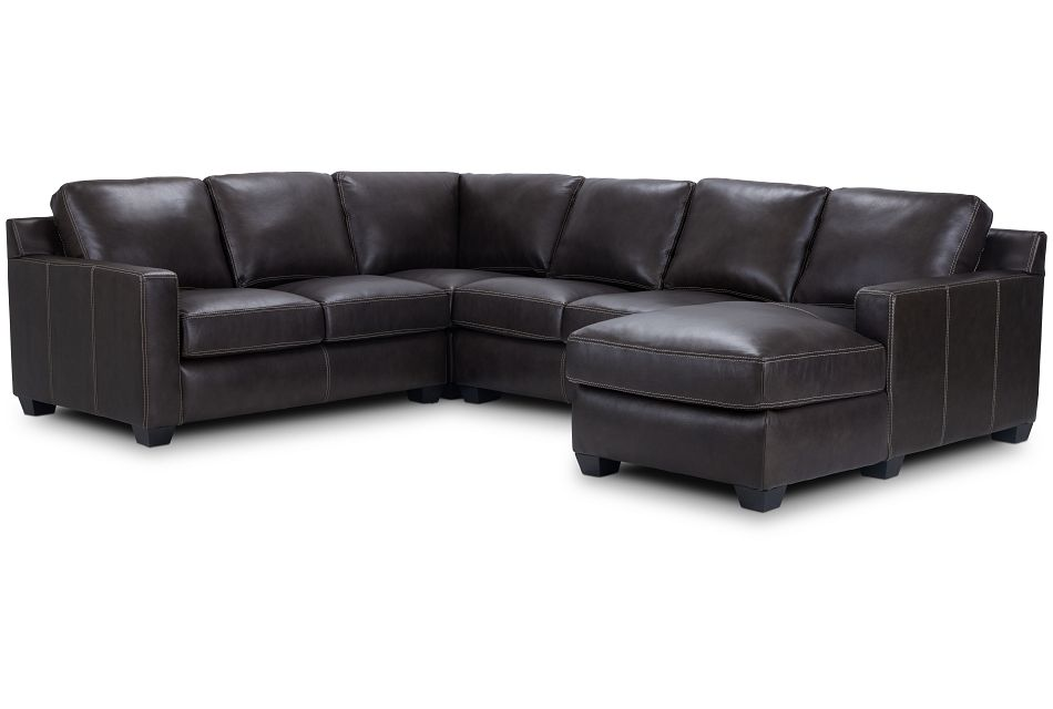 Carson Dark Brown Leather Medium Right Chaise Sectional,  (1)