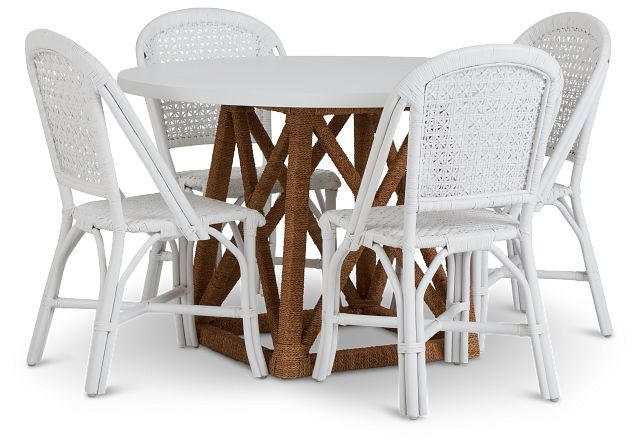 Greenwich Two-tone Round Table & 4 White Rattan Chairs