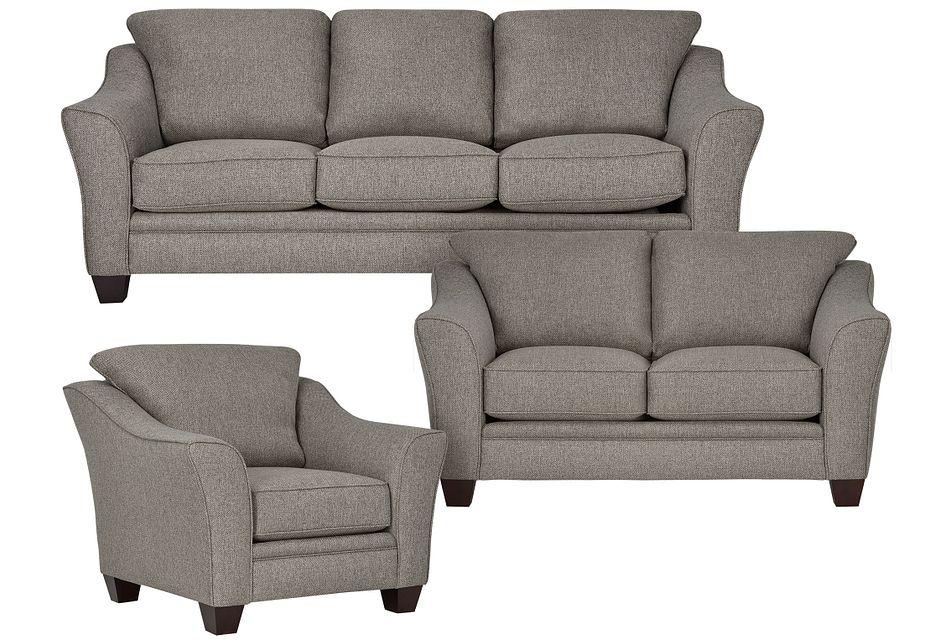 Avery Dark Gray Fabric Living Room