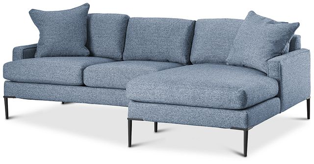 Morgan Blue Fabric Small Right Chaise Sectional W/ Metal Legs (0)