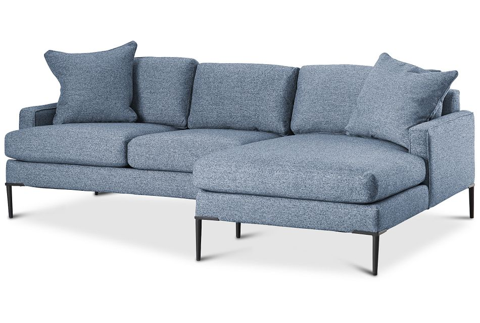 Morgan Blue Fabric Small Right Chaise Sectional W/ Metal Legs