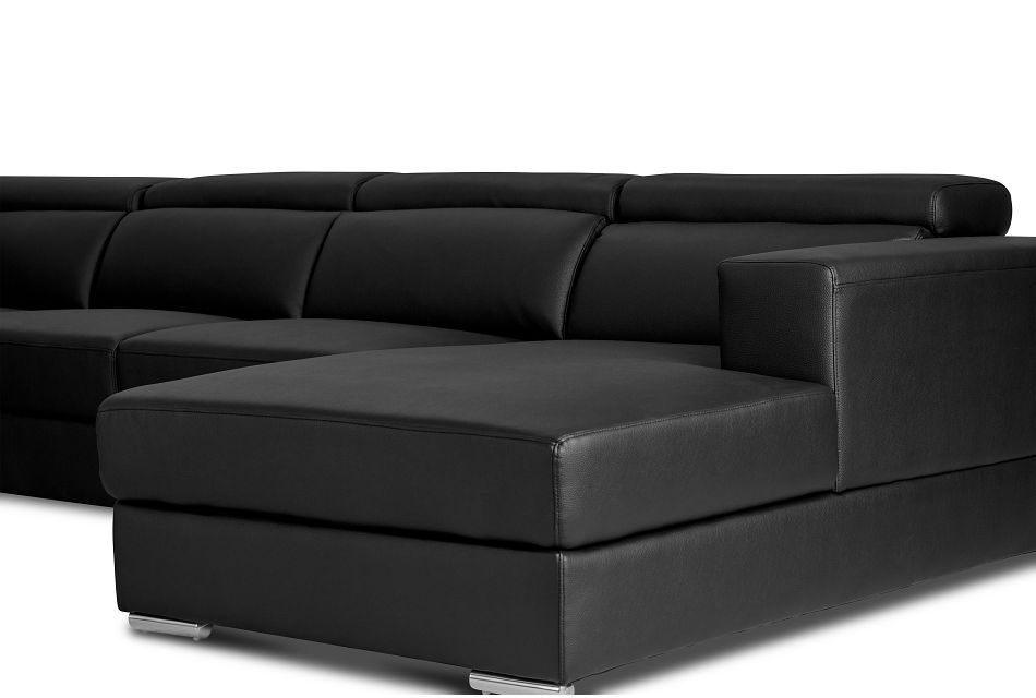 Maxwell Black Micro Large Right Chaise Sectional