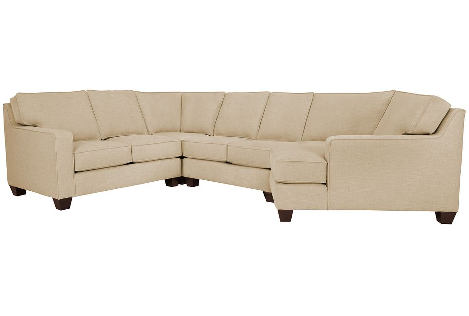 York Beige Fabric Small Right Cuddler Sectional