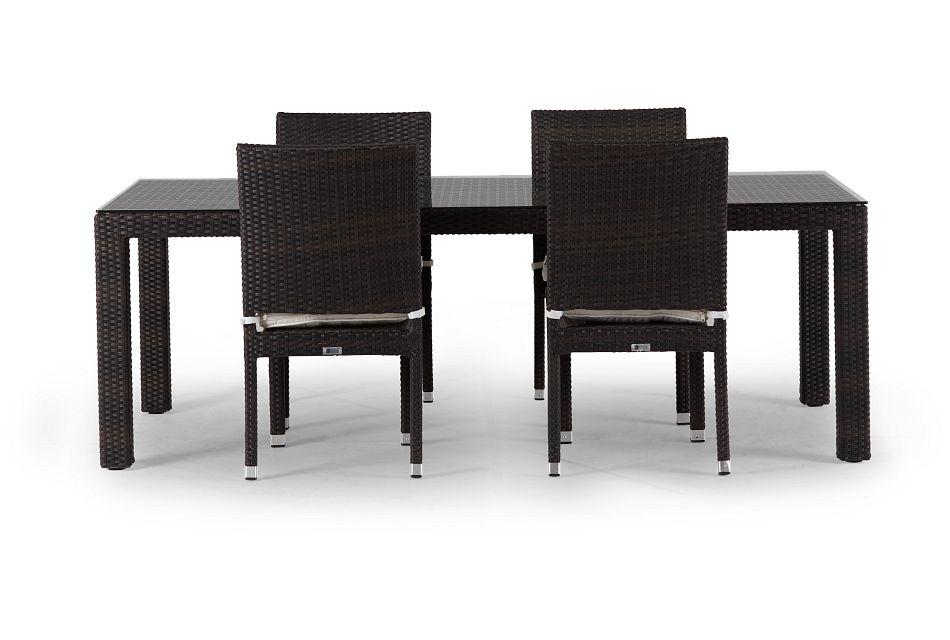 "Zen White 84"" Rectangular Table & 4 Chairs"