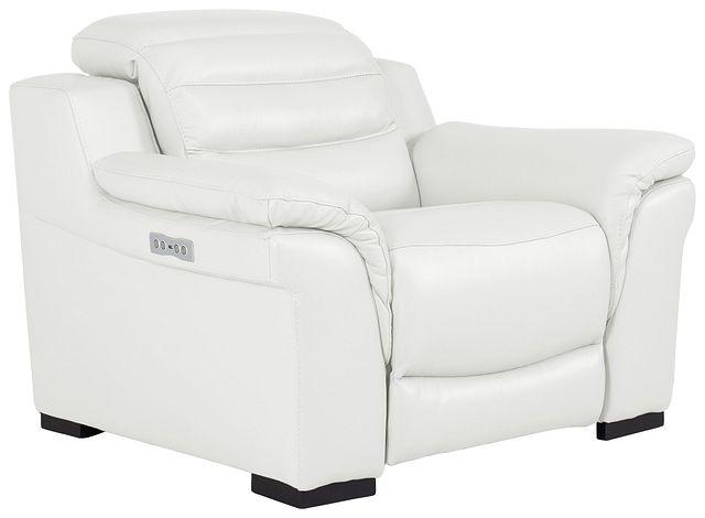 Sentinel White Lthr/vinyl Power Recliner With Power Headrest (0)