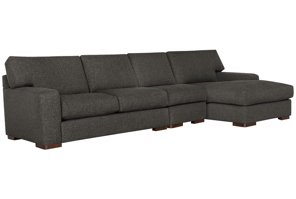 Veronica Dark Brown Down Small Right Chaise Sectional