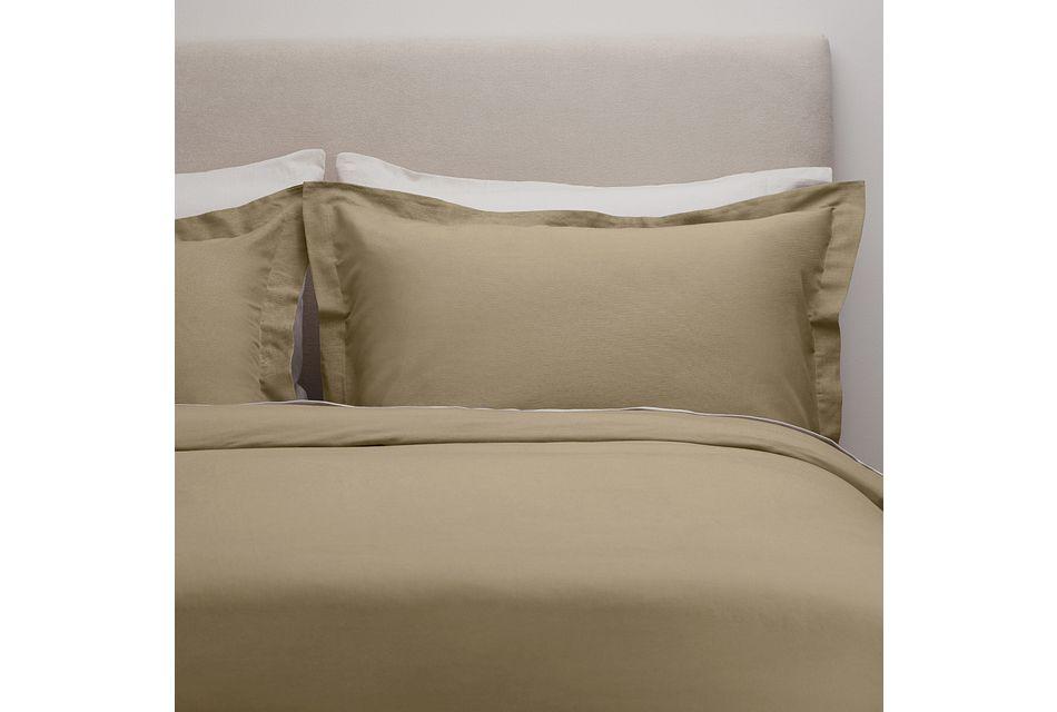 Linen Blend Khaki  Duvet Set