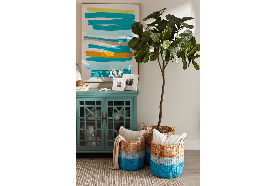 Bailey Set Of 3 Blue Basket,  (3)