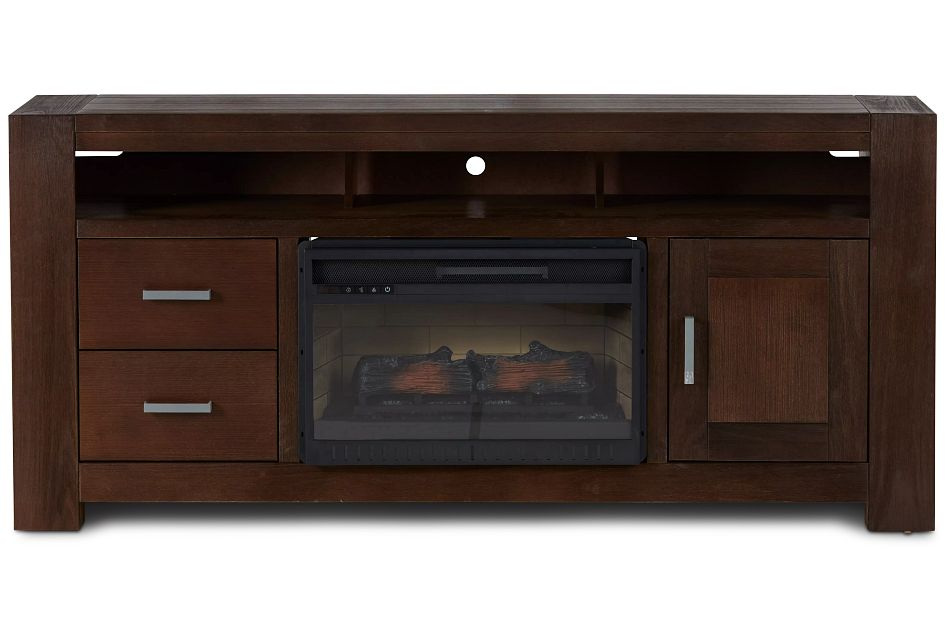 "Empire Dark Tone 72"" Tv Stand With Fireplace Insert"