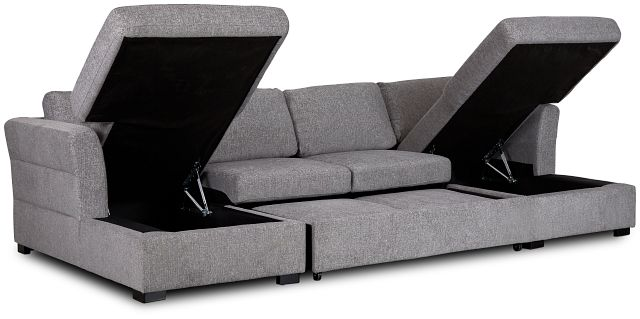 Amber Dark Gray Fabric Double Chaise Sleeper Sectional (3)