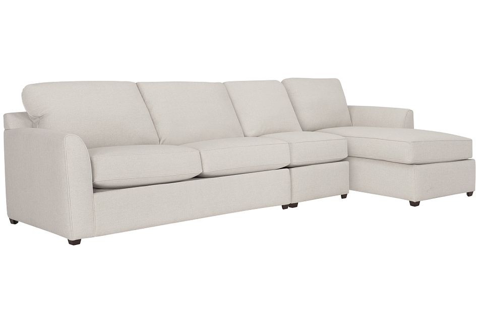 Asheville Light Taupe Fabric Small Right Chaise Sectional