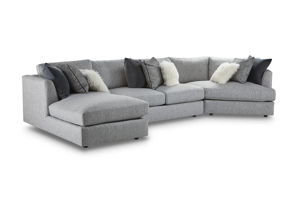 Sydney Gray Fabric Left Facing Chaise