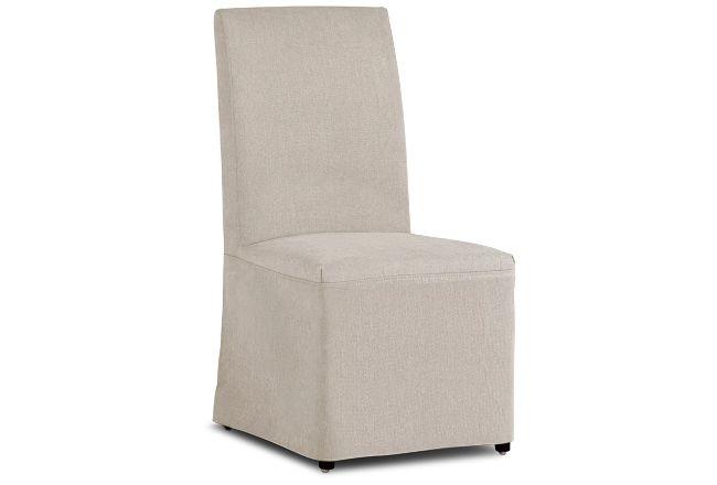 Harbor Light Beige Long Slipcover Chair With Dark-tone Leg