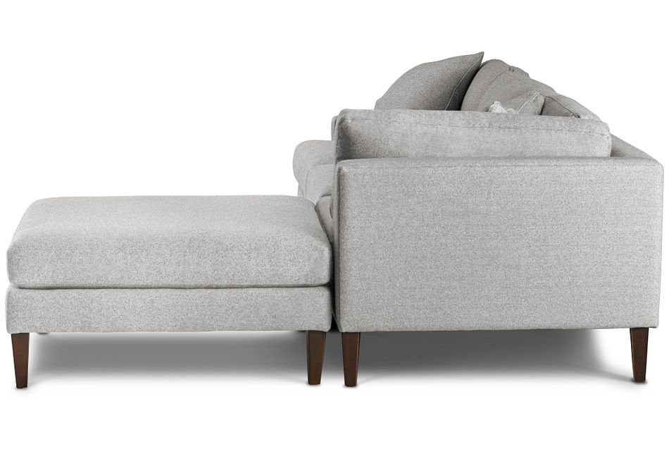 Morgan Light Gray Fabric Right Bumper Sectional W/ Wood Legs
