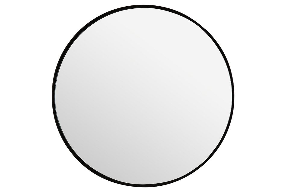 Primm Black Round Mirror