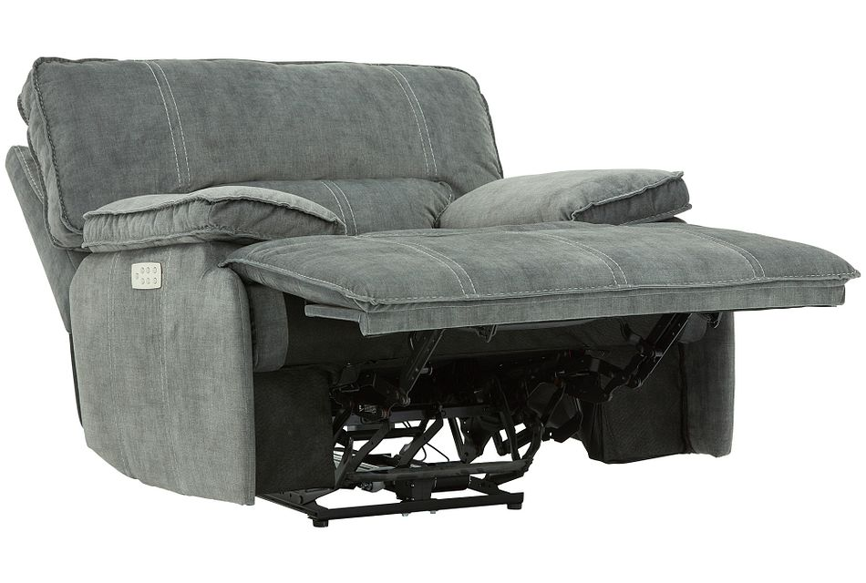 Jesse Dark Gray Micro Power Recliner