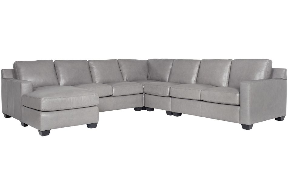 Carson Gray Leather Large Left Chaise Sectional,  (0)