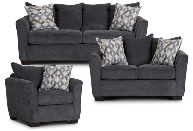 Myra Dark Gray Fabric Living Room