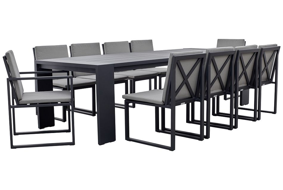 """Linear Dark Gray 110"""" Aluminum Table & 4 Cushioned Side Chairs"""