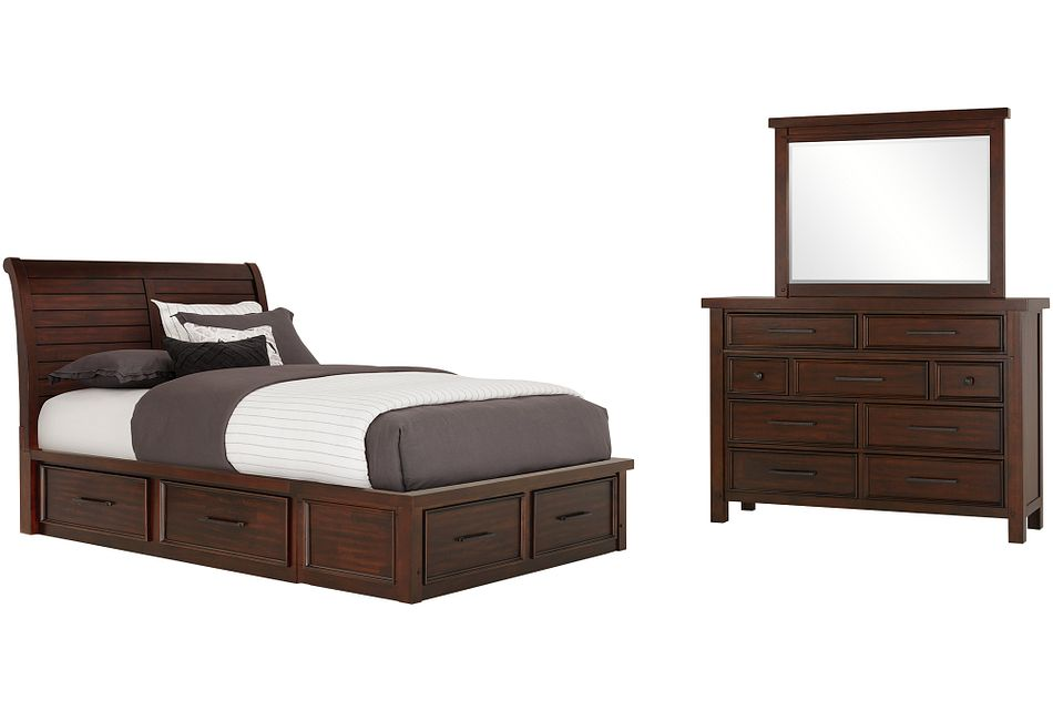 Napa Dark Tone 6-drawer Sleigh Storage Bedroom