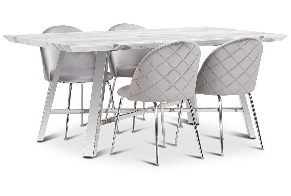 Capri Stainless Steel  GRAY Rectangular Table & 4 Upholstered Chairs,  (1)