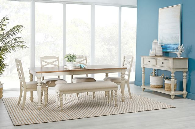 Lexington Two-tone Rect Table, 4 Chairs & Bench (1)