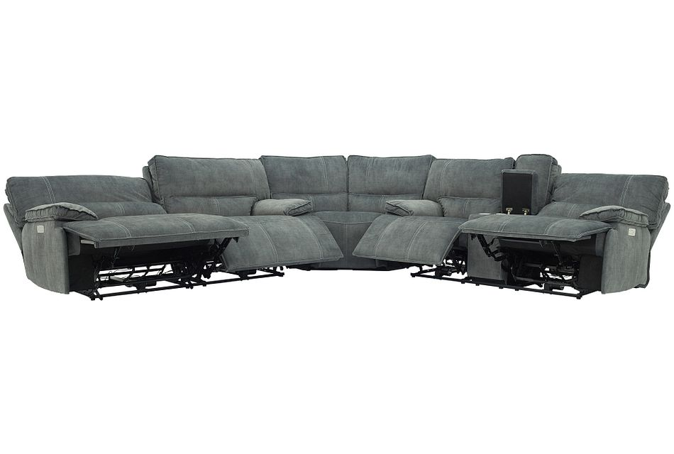 Jesse Dark Gray Micro Two-Arm Power Reclining Sectional,  (1)