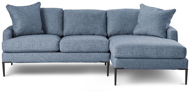 Morgan Blue Fabric Small Right Chaise Sectional W/ Metal Legs (3)