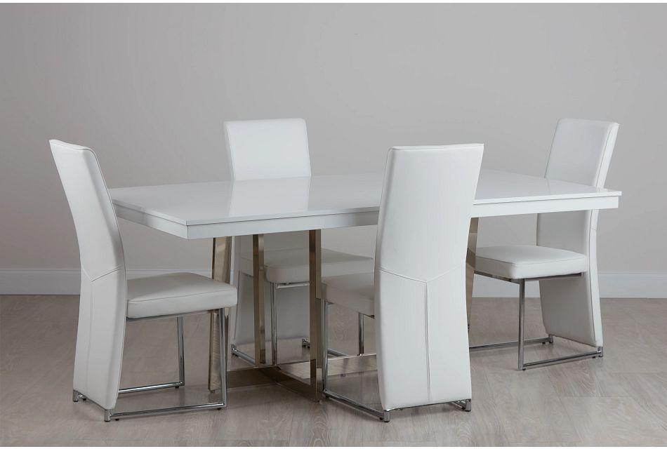 Cortina White Table & 4 Chairs