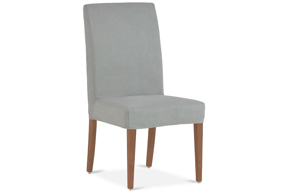 Destination Light Gray Short Slipcover Chair With Light Tone Leg