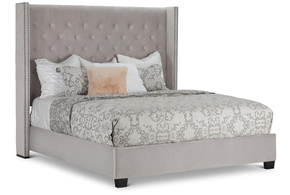 Sloane Light Gray Uph Shelter Bed, King (2)