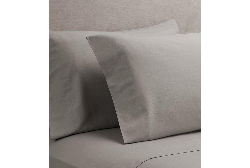 Linen Blend Gray  Set Of 2 Pillowcases, Standard Size (0)