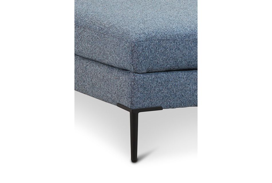 Morgan Blue Fabric Cocktail Ottoman With Metal Legs