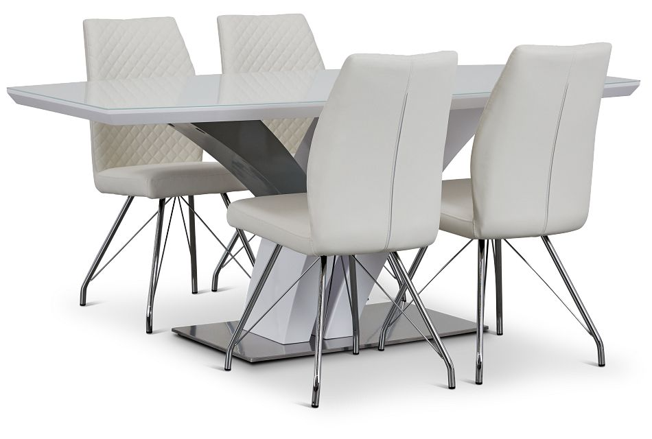 Lima White Table & 4 Upholstered Chairs,  (1)