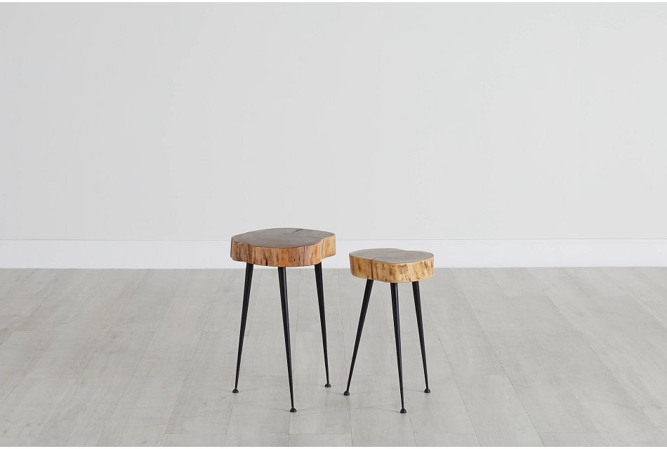 Iron Brown Set Of 2 Accent Table