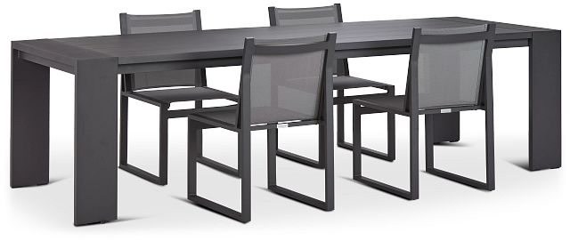 """Linear Dark Gray 110"""" Aluminum Table & 4 Sling Side Chairs (0)"""