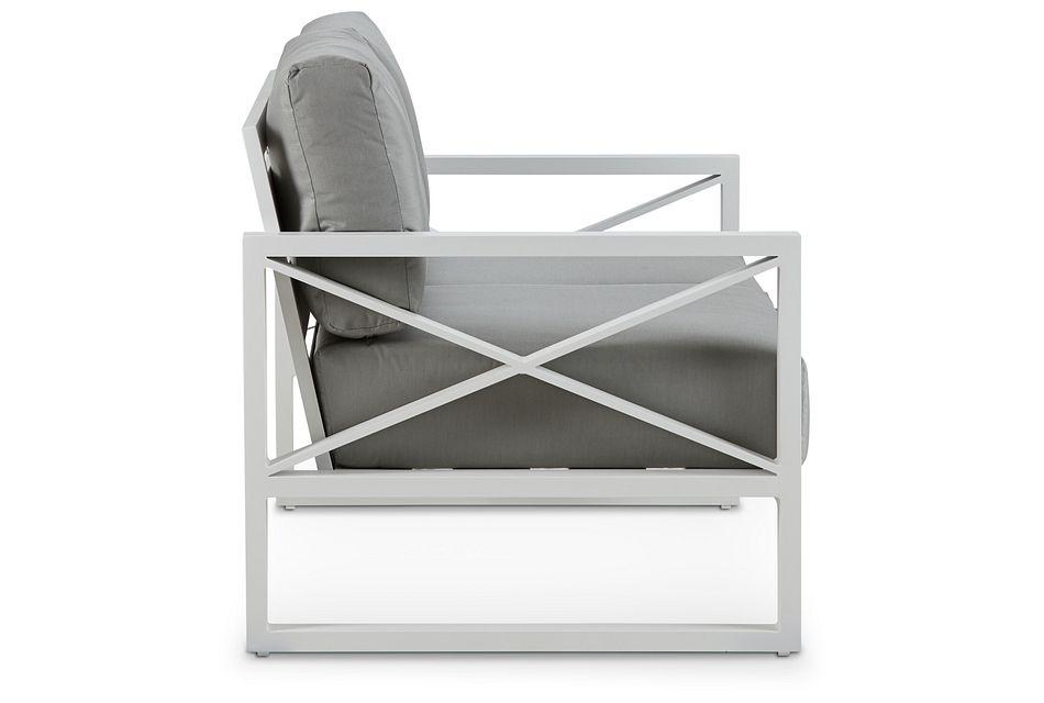 Linear White Dark Gray Aluminum Loveseat