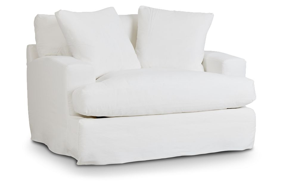 Delilah White Fabric Chair,  (1)