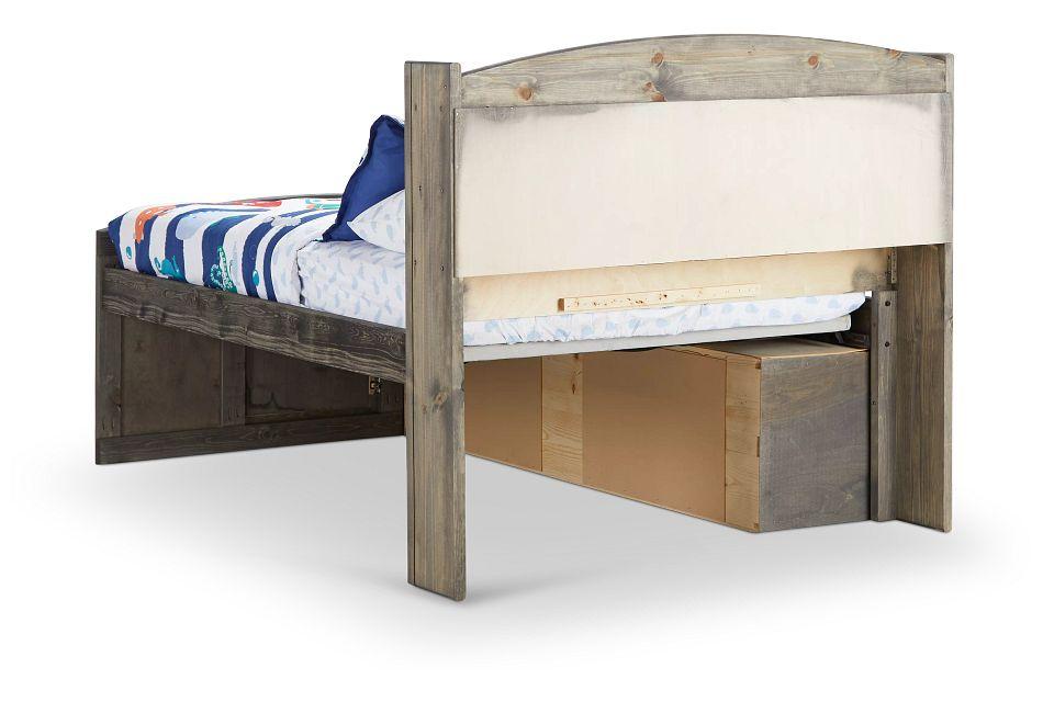 Cinnamon Gray Bookcase Storage Bed