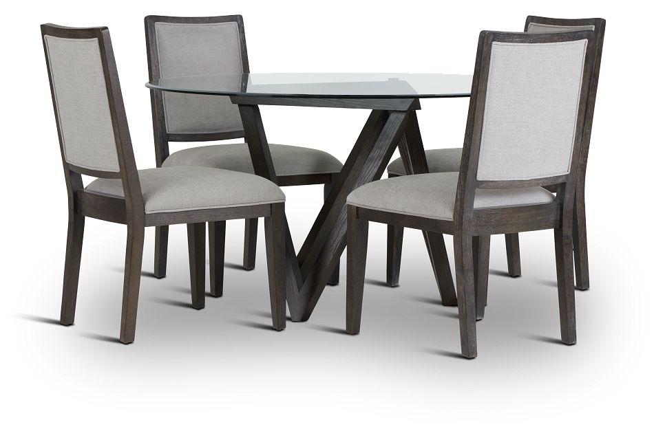 Tribeca Dark Tone Glass Table & 4 Wood Chairs