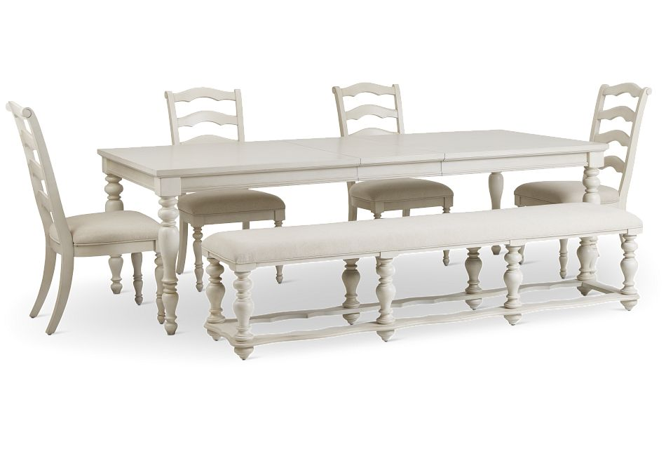 Savannah Ivory Rect Table, 4 Chairs & Bench,  (3)
