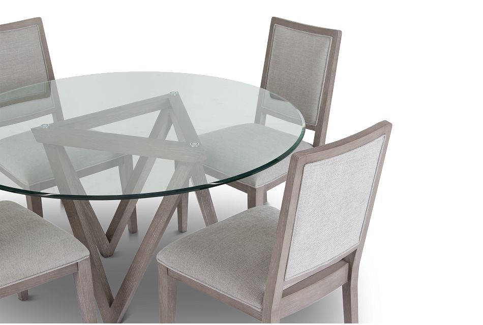 Tribeca Light Tone Glass Table & 4 Wood Chairs