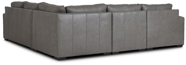 Dawkins Gray Leather Medium Left Chaise Sectional (3)