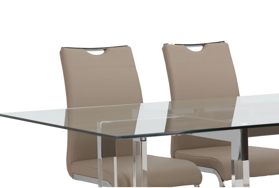 Denmark Taupe Table & 4 Upholstered Chairs,  (3)