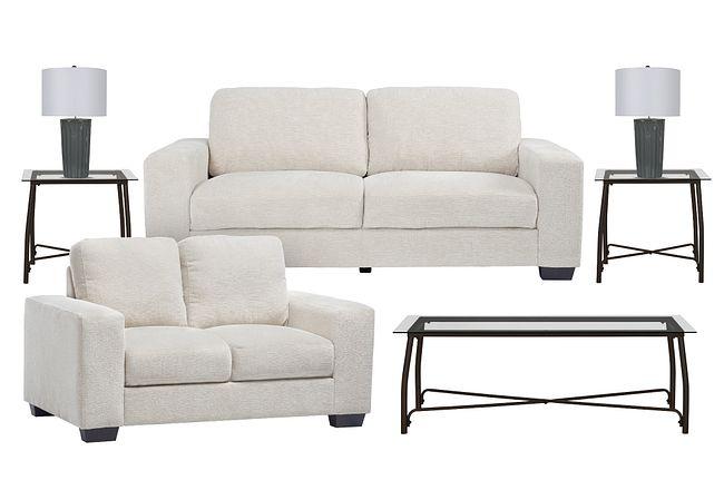 Estelle Beige Fabric 7-piece Living Room Package