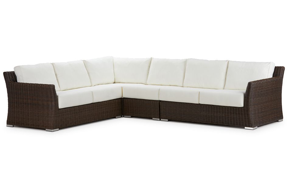 Southport White Woven Large Two-arm Sectional