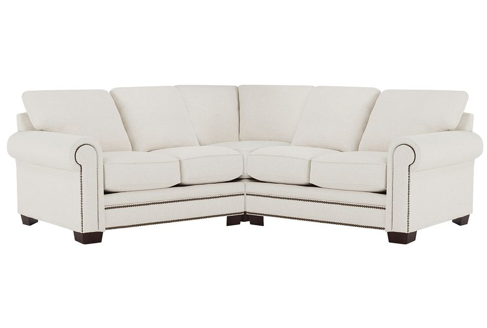 Foster White Fabric Small Two-arm Sectional