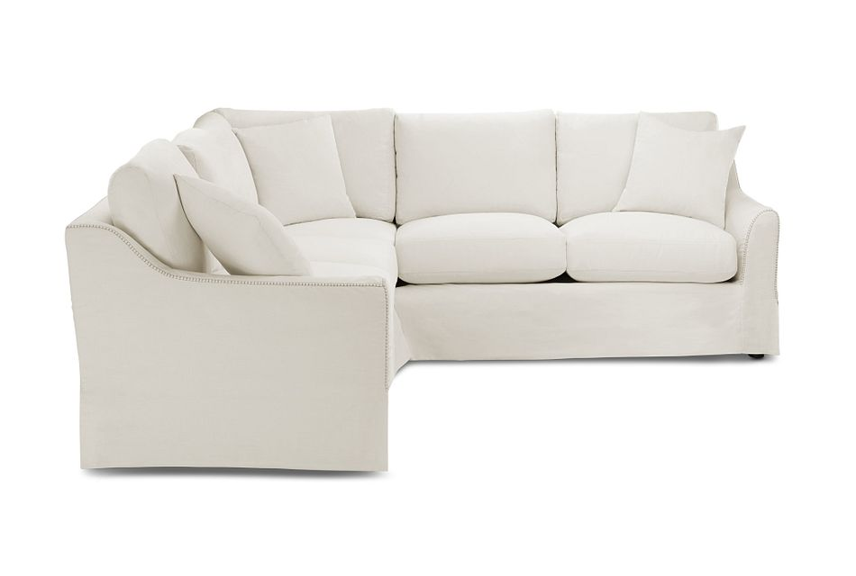 Madelyn Light Beige Fabric Small Two-arm Sectional